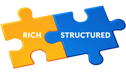 "two connected puzzle pieces, labeled ""rich"" and ""structured"""